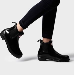 Hunter Chelsea Gloss Black Rain Boots